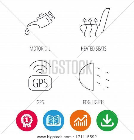 Motor oil, passing fog lights and gps icons. Heated seats linear sign. Award medal, growth chart and opened book web icons. Download arrow. Vector