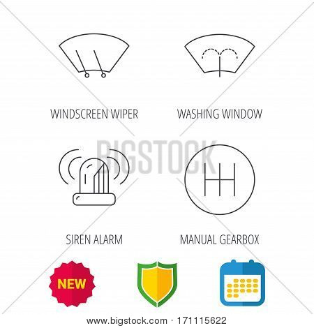 Manual gearbox, siren alarm and washing window icons. Windscreen wiper linear sign. Shield protection, calendar and new tag web icons. Vector