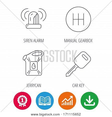 Manual gearbox, jerrycan and car key icons. Siren alarm, fuel jerrycan linear signs. Award medal, growth chart and opened book web icons. Download arrow. Vector