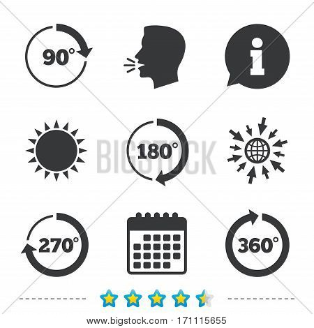 Angle 45-360 degrees circle icons. Geometry math signs symbols. Full complete rotation arrow. Information, go to web and calendar icons. Sun and loud speak symbol. Vector
