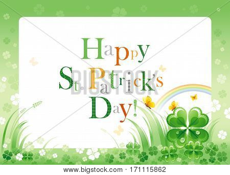 Happy Saint Patrick day border flyer, isolated background. Irish shamrock clover leaf frame, rainbow, green grass, copyspace. Traditional Northern Ireland celtic holiday. Text letter logo poster.