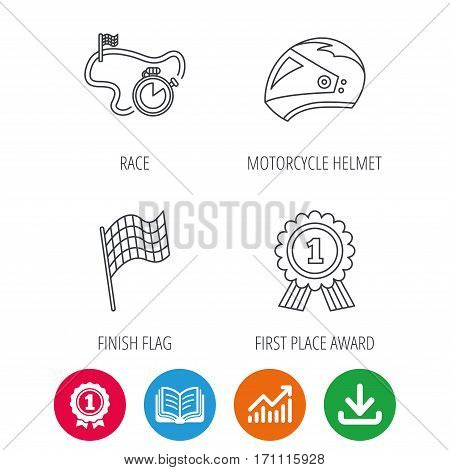 Race flag, motorcycle helmet and award medal icons. Start or finish flag linear sign. Award medal, growth chart and opened book web icons. Download arrow. Vector