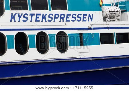 Trondheim Norway - September 30 2016: Close-up of a public tyransport small passenger ship in costal service for Kystekspressen in Trondheim.