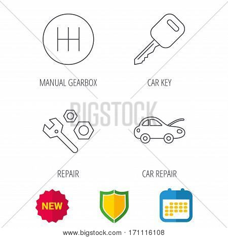 Car key, repair tools and manual gearbox icons. Car repair, transmission linear signs. Shield protection, calendar and new tag web icons. Vector