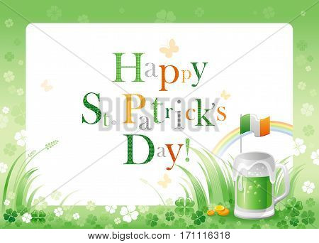Happy Saint Patrick day. Green beer drink border flyer, Irish flag isolated white background. Shamrock clover leaf frame, rainbow. Traditional Northern Ireland celtic holiday. Text letter logo poster