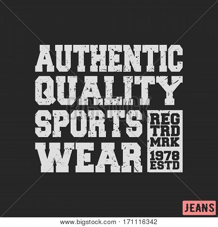 T-shirt print design. Sportswear vintage stamp. Printing and badge applique label t-shirts jeans casual wear. Vector illustration.