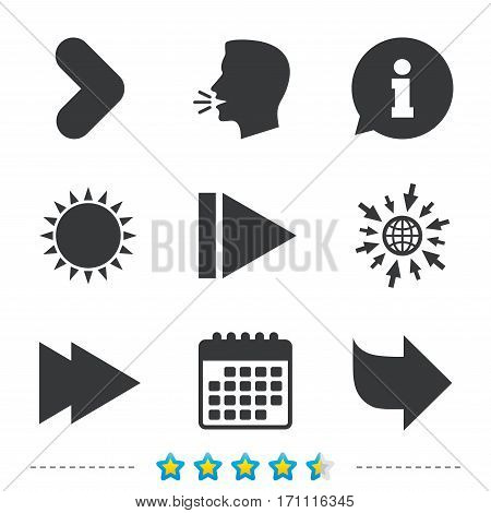 Arrow icons. Next navigation arrowhead signs. Direction symbols. Information, go to web and calendar icons. Sun and loud speak symbol. Vector