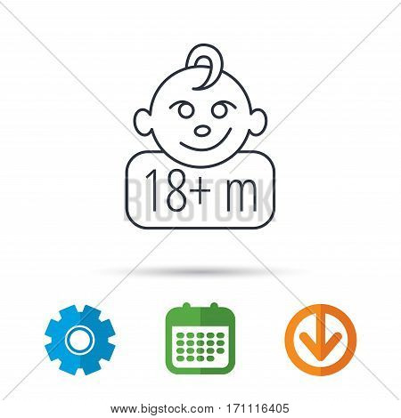 Baby face icon. Newborn child sign. Use of one and half year and plus symbol. Calendar, cogwheel and download arrow signs. Colored flat web icons. Vector