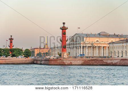 Old Saint Petersburg Stock Exchange and Rostral Columns on Spit of Vasilyevsky Island