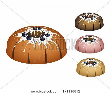 Illustration Set of Bundt Cake or Traditional Big Round Cake with Hole Inside Mirror Glaze Coating Blueberry and Chocolate Sprinkles for Holiday Dessert Isolated on White Background.