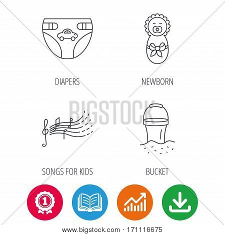 Diapers, newborn baby and songs for kids icons. Beach bucket linear sign. Award medal, growth chart and opened book web icons. Download arrow. Vector