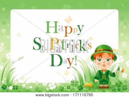 Happy Saint Patrick day. Irish dress baby boy border flyer, isolated white background. Shamrock clover frame, rainbow, green grass. Traditional Northern Ireland celtic holiday. Text logo letter poster