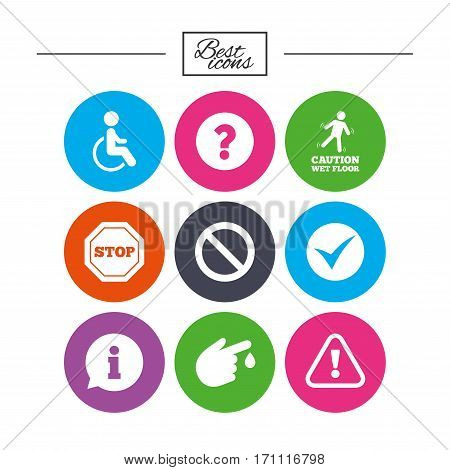 Attention caution icons. Question mark and information signs. Injury and disabled person symbols. Classic simple flat icons. Vector