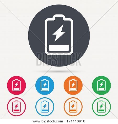 Battery power icon. Charging accumulator symbol. Round circle buttons. Colored flat web icons. Vector
