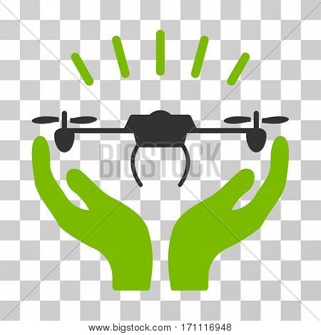 Drone Launch Hands icon. Vector illustration style is flat iconic bicolor symbol eco green and gray colors transparent background. Designed for web and software interfaces.