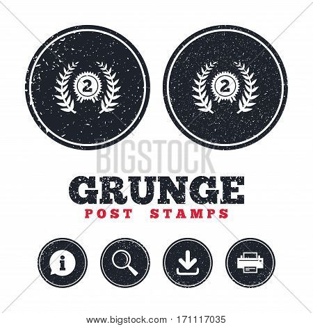 Grunge post stamps. Second place award sign icon. Prize for winner symbol. Laurel Wreath. Information, download and printer signs. Aged texture web buttons. Vector