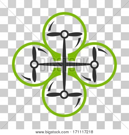 Drone Screws icon. Vector illustration style is flat iconic bicolor symbol eco green and gray colors transparent background. Designed for web and software interfaces.
