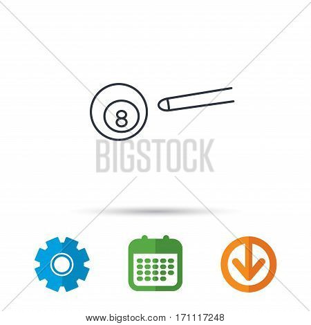 Billiard ball icon. Pool or snooker equipment sign. Cue sports symbol. Calendar, cogwheel and download arrow signs. Colored flat web icons. Vector