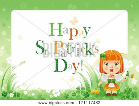 Happy Saint Patrick day. Irish dress baby girl border flyer isolated white background. Shamrock clover frame, rainbow, green grass. Traditional Northern Ireland celtic holiday. Text letter logo poster