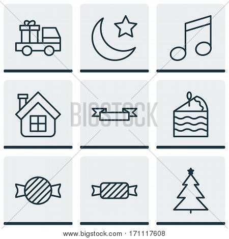 Set Of 9 Happy New Year Icons. Includes Crotchets, Residential, Placard And Other Symbols. Beautiful Design Elements.