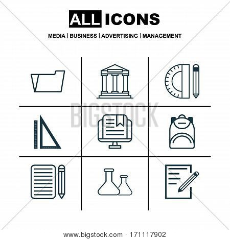 Set Of 9 Education Icons. Includes Haversack, Education Tools, E-Study And Other Symbols. Beautiful Design Elements.