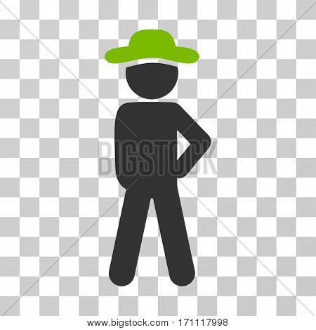 Gentleman Audacity icon. Vector illustration style is flat iconic bicolor symbol eco green and gray colors transparent background. Designed for web and software interfaces.