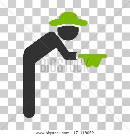 Gentleman Beggar icon. Vector illustration style is flat iconic bicolor symbol eco green and gray colors transparent background. Designed for web and software interfaces.