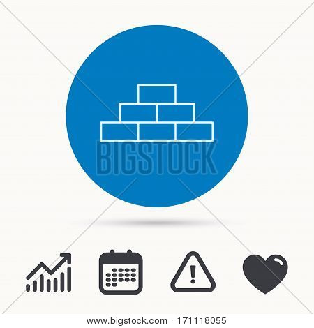 Brickwork icon. Brick construction sign. Calendar, attention sign and growth chart. Button with web icon. Vector
