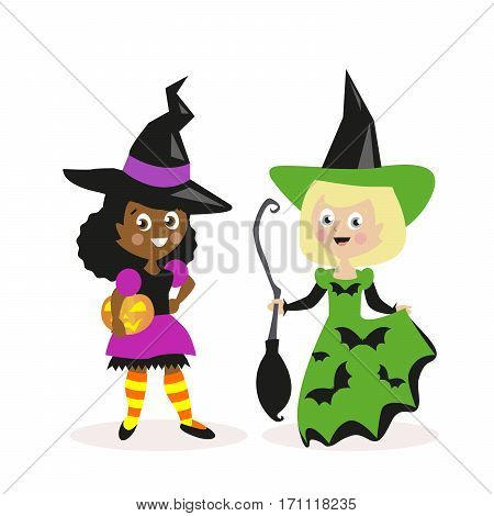 Girls dressed as a witch with a broom and pumpkin. Holiday Halloween. Small children. White and African-American. Flat character isolated on white background. Vector, illustration EPS10