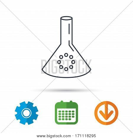 Laboratory bulb or beaker icon. Chemistry sign. Science or pharmaceutical symbol. Calendar, cogwheel and download arrow signs. Colored flat web icons. Vector