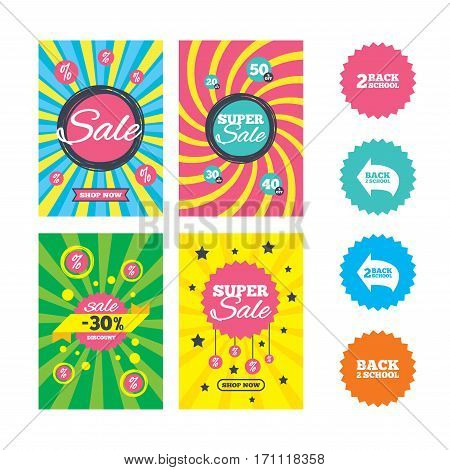 Web banners and sale posters. Back to school icons. Studies after the holidays signs symbols. Special offer and discount tags. Vector