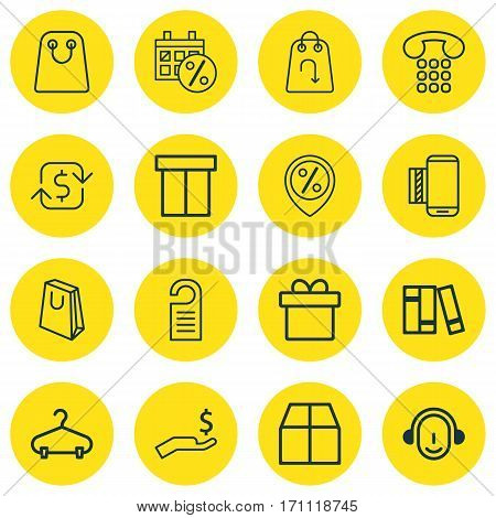 Set Of 16 E-Commerce Icons. Includes Callcentre, Tote Bag, Rich And Other Symbols. Beautiful Design Elements.