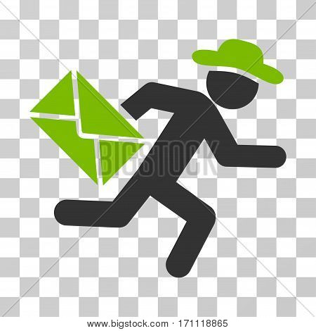 Gentleman Mail Courier icon. Vector illustration style is flat iconic bicolor symbol eco green and gray colors transparent background. Designed for web and software interfaces.