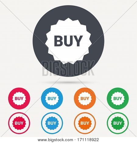 Buy icon. Online shopping star symbol. Round circle buttons. Colored flat web icons. Vector