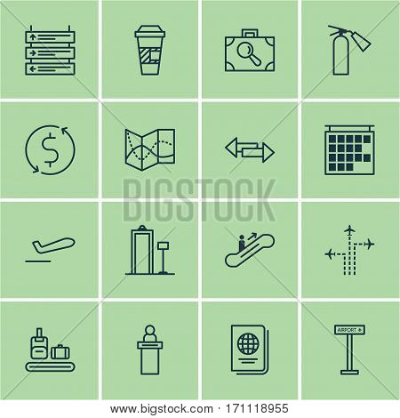 Set Of 16 Traveling Icons. Includes Security Scanner, Registration Service, Money Trasnfer And Other Symbols. Beautiful Design Elements.