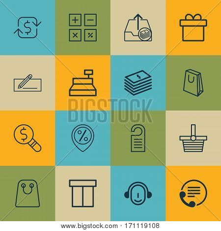 Set Of 16 E-Commerce Icons. Includes Dollar Banknote, Business Inspection, Recurring Payements And Other Symbols. Beautiful Design Elements.