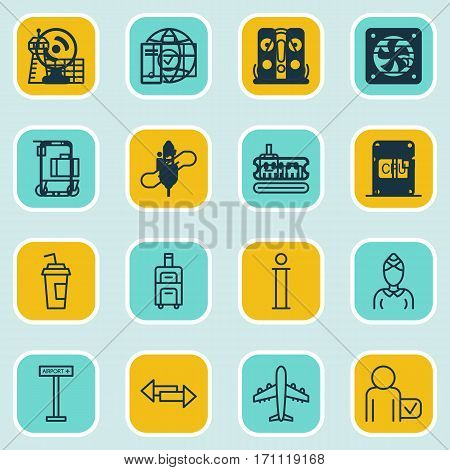 Set Of 16 Airport Icons. Includes Security Scanner, Drink Cup, Airliner And Other Symbols. Beautiful Design Elements.