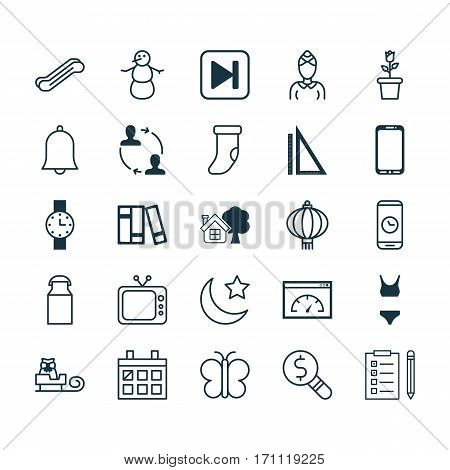Set Of 25 Universal Editable Icons. Can Be Used For Web, Mobile And App Design. Includes Elements Such As Sleigh, Bathing Costume, Skip Song And More.