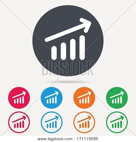 Growing graph icon. Business analytics chart symbol. Round circle buttons. Colored flat web icons. Vector