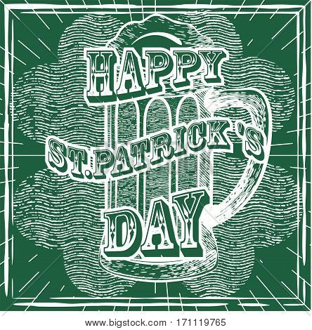 Vector vintage illustrations for St. Patrick's Day in sketch style. Image of leaf clover and a glass of celebratory beer.