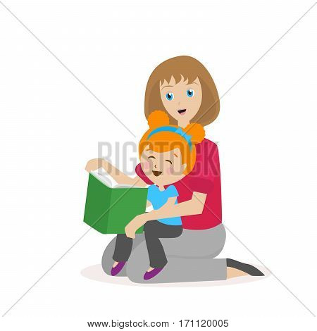 Mother daughter reading a book. The process of learning to read. Bedtime Story. Flat character isolated on white background. Vector, illustration EPS10