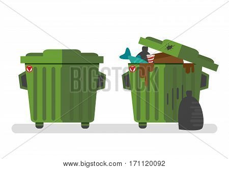 Set of two waste containers, empty and full of waste.