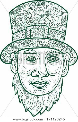 Mandala style illustration of a head of a leprechaun a type of fairy in Irish folklore with beard and a top hat viewed from front set on isolated white background.