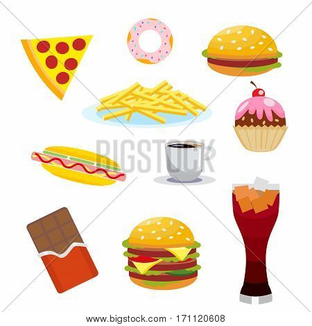 Set harmful foods. Chocolate and cola, hamburger and hot dog, french fries, and cake, coffee and pizza. Vector, illustration isolated on white background EPS10