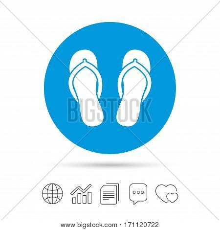 Flip-flops sign icon. Beach shoes. Sand sandals. Copy files, chat speech bubble and chart web icons. Vector