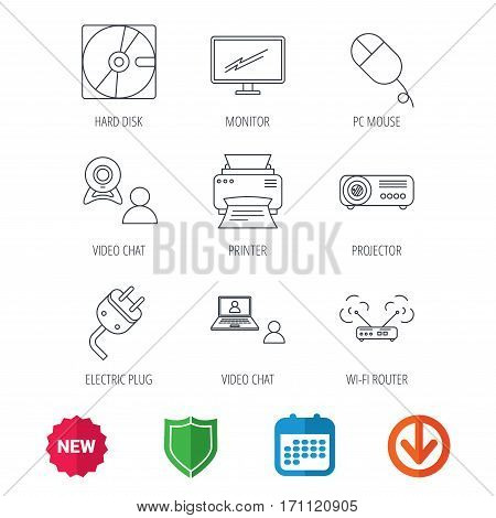 Monitor, printer and wi-fi router icons. Video chat, electric plug and pc mouse linear signs. Projector, hard disk icons. New tag, shield and calendar web icons. Download arrow. Vector