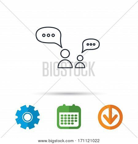 Dialog icon. Chat speech bubbles sign. Discussion messages symbol. Calendar, cogwheel and download arrow signs. Colored flat web icons. Vector