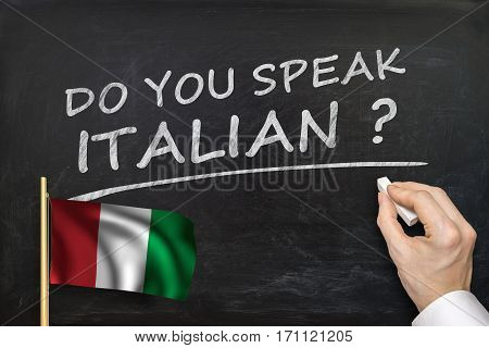 Do You Speak Italian? Text Written On Blackboard.