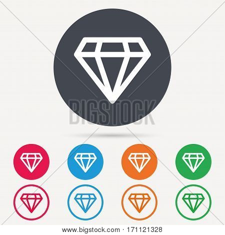 Diamond icon. Jewelry gem symbol. Brilliant jewel sign. Round circle buttons. Colored flat web icons. Vector