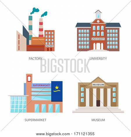 Set of urban buildings in a flat style. Factory, institute or university, a supermarket or shopping center and museum. Vector, illustration isolated on white background EPS10